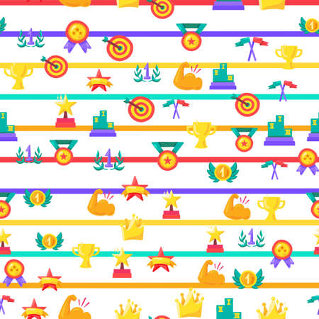 Awards seamless color vector pattern. Striped winner background with trophy, medals, rewards, prizes