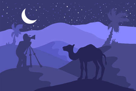 Wildlife, nature photographer flat illustration. Minimalistic night landscape with camel, moon, palm Illustration