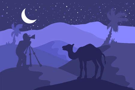 Wildlife, nature photographer flat illustration. Minimalistic night landscape with camel, moon, palm Illusztráció