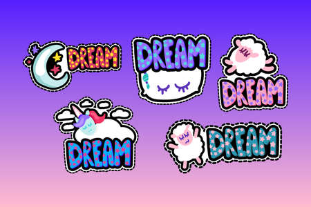 Dream lettering stitched frame illustrations set. Good night stickers pack. Dash line flat sheeps
