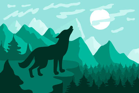 Landscape with wolf silhouette flat vector illustration. Wildlife, nature minimalistic background Иллюстрация