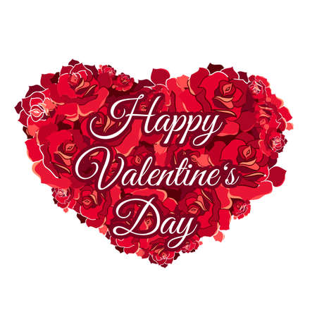 Happy Valentine's Day greeting card template. Red heart-shaped roses isolated design element Vektorové ilustrace