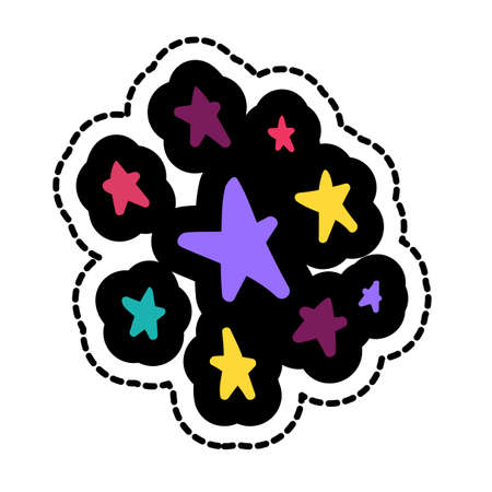 Stars stitched frame illustration. Good night sticker, patch. Dash line flat color drawing