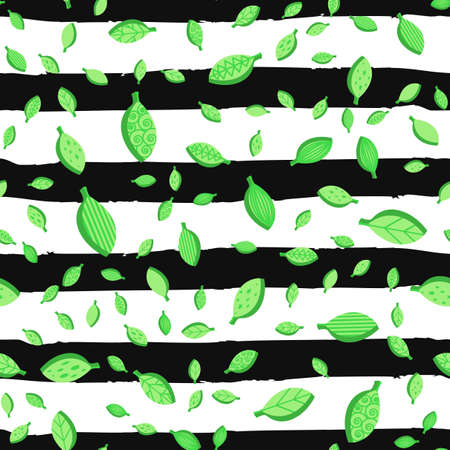 Falling leaves color seamless vector pattern. Flat ornate green foliage with brushstroke strips