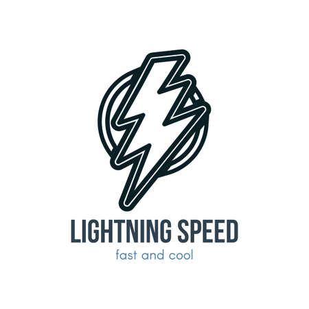 Thunder hand drawn contour illustration. Lightning bolt logo. Speed, energy linear element
