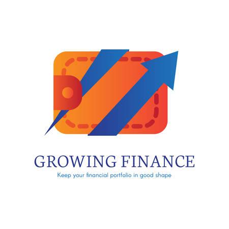 Growing finance flat gradient icon Illustration