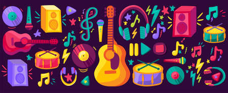 Musical instruments flat cliparts set. Hand drawn guitar, drums, records collection. Stickers pack