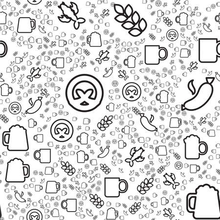 Beer and snacks linear seamless pattern. Oktoberfest treats texture. Textile, wrapping paper design
