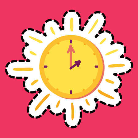 Sun clock stitched frame flat color sticker. Dash line clock. Watch hand drawn vector design element