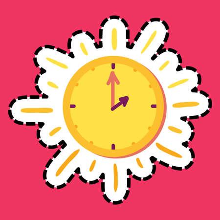 Sun clock stitched frame flat color sticker. Dash line clock. Watch hand drawn vector design element
