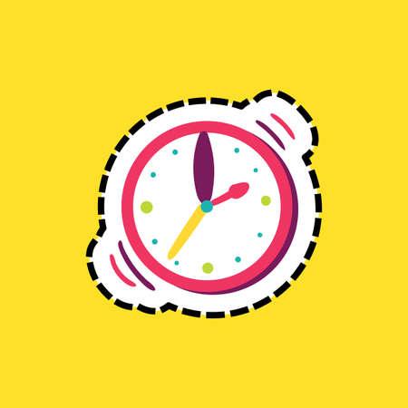 Wristwatch dash line flat color illustration Illustration