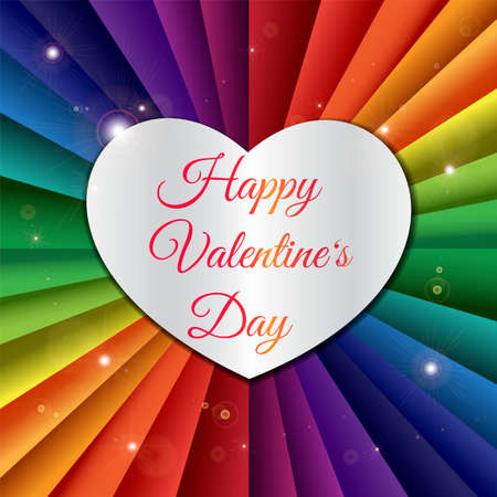 Happy Valentine's Day greeting card template. Silver heart with lettering and rainbow ribbons
