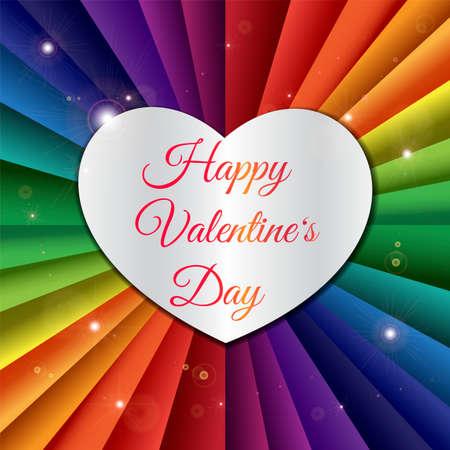 Happy Valentinstag Grußkartenvorlage. Silbernes Herz mit Schriftzug und Regenbogenbändern