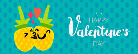 Happy Valentine's Day banner template. While lettering. Kissing pineapples emoji cartoon characters