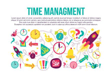 Time management stitched frame flat illustrations set Illustration