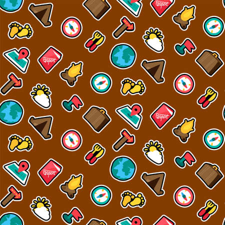 Camping stickers seamless color vector pattern. Trip, tourism, travel. Hiking cartoon background