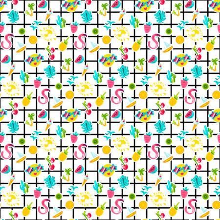 Pegatinas de verano color patrón de vector transparente. Accesorios de vacaciones de dibujos animados. Fondo de vacaciones