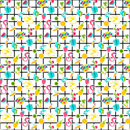 Summer stickers color seamless vector pattern. Cartoon holiday accessories. Vacation background