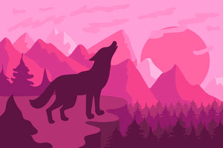 Forest landscape with wolf flat vector illustration. Wildlife, nature minimalistic background