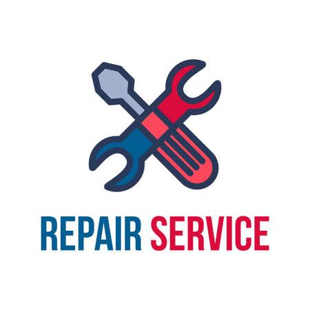 Repair service lettering flat vector logo design. Isolated outline car workshop logotype concept Illustration