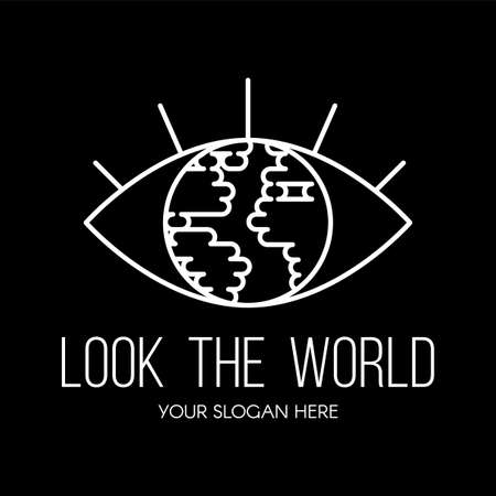 Eye with planet inside flat vector logo design. Look the world contour tourist agency sign concept