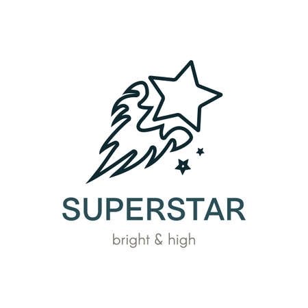 Burning Star flat vector logo design. Digital outline comet company icon concept with lettering