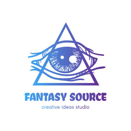 Stylized eye of providence with triangle vector logo. Fantasy source lettering art studio, shop sign