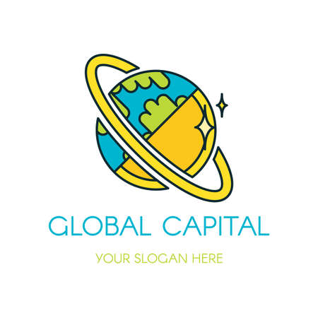 Global capital vector logo design. Cartoon planet, Earth. Flat finance, banking company logotype Illustration
