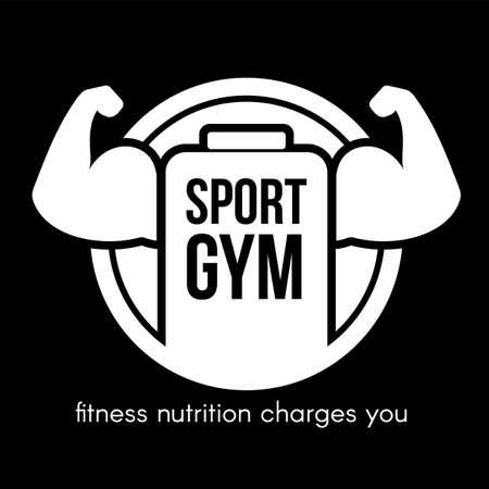 Sport gym lettering vector logo design. White healthy nutrition shop sign idea on black background