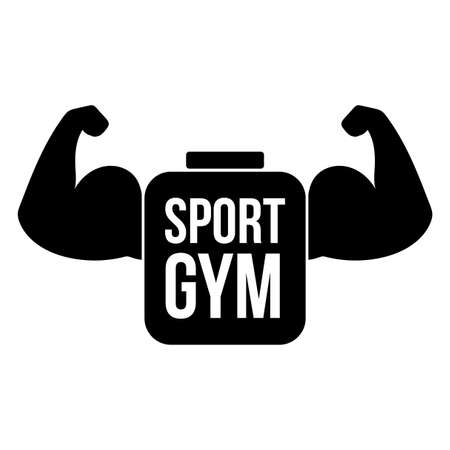 Sport gym vector logo concept. Digital muscles illustration. Fitness center sign idea with lettering