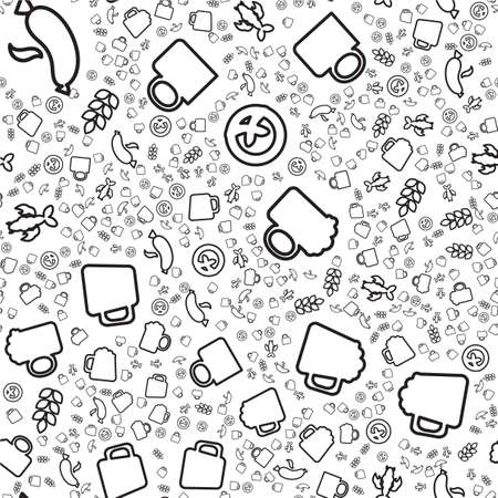 Craft beer linear seamless pattern. Brewery, Oktoberfest background. Textile, wrapping paper design Illustration