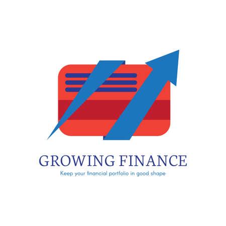 Growing finance flat gradient icon. E-payment, money transaction logo. Digital credit card clipart Illustration