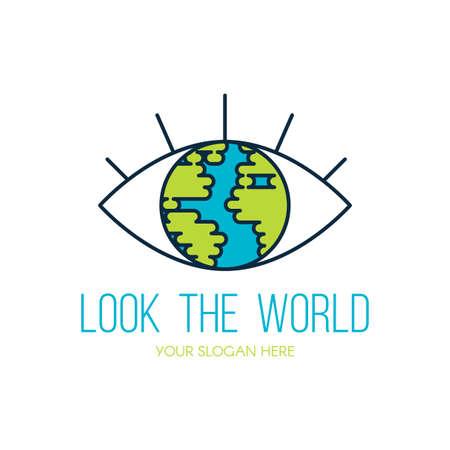 Planet Earth eye flat vector logo design. Look the world outline travel agency sign concept Illustration