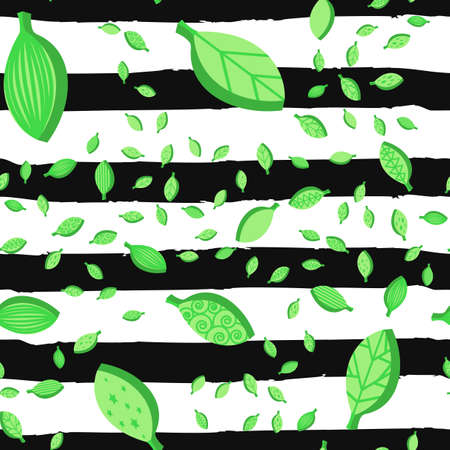 Green leaves seamless vector pattern. Falling foliage texture. Ornate leafage striped background Illustration