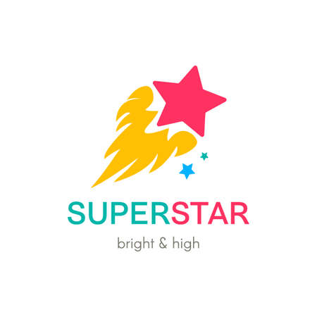 Burning Star simple vector logo concept. Flat color comet company icon design with lettering