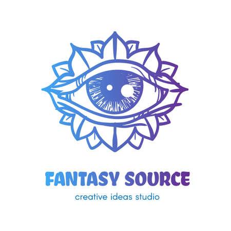 Stylized eye with flower petals vector logo design. Fantasy source outline art studio sign concept