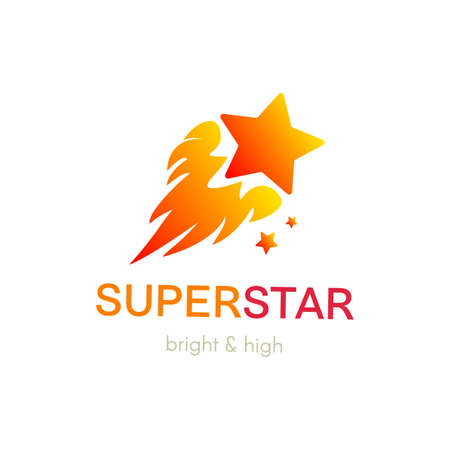Burning star flat vector logo design. Isolated gradient company icon concept with lettering