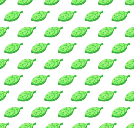 Green leaves seamless color vector pattern. Stylized foliage with streaks background. Textile design