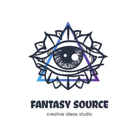 Stylized eye of providence vector logo design. Fantasy source outline art studio sign concept Illustration