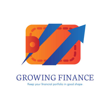 Growing finance flat gradient icon. E-payment, purchase transaction logo. E-banking clipart