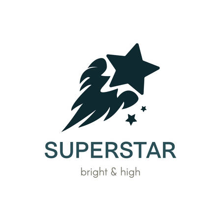 Burning Star flat vector logo concept. Simple monochrome company icon design with lettering
