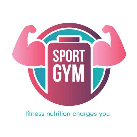 Sport gym lettering vector logo design. Flat fitness center, healthy nutrition shop sign concept Illustration
