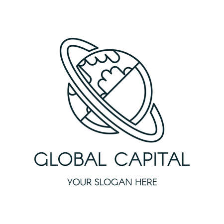 Planet Earth vector logo design. Outline globe finance, banking company icon concept with lettering Illustration
