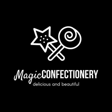Magic confectionery store vector logo design. Sweets bar, cafe sign concept. Wand, lollipop clipart Illustration