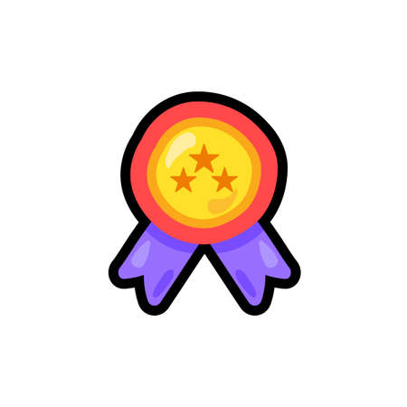Medal cartoon color sticker. Trophy, reward, prize outline clipart. Winner award hand drawn patch Illustration