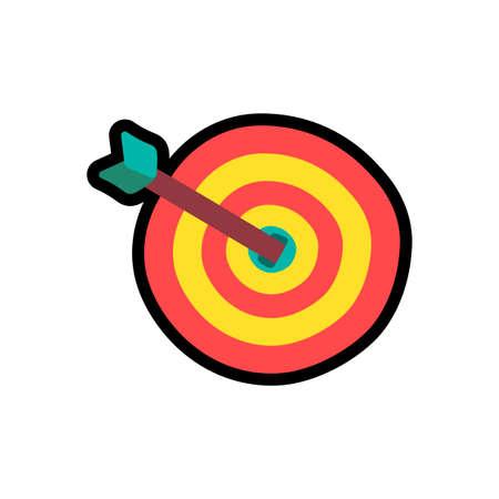 Target with arrow cartoon color illustration. Dartboard. Goal, focus, aim hand drawn design element