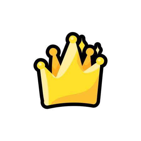 Crown flat color illustration. Winner, champion, king clipart. Award hand drawn design element