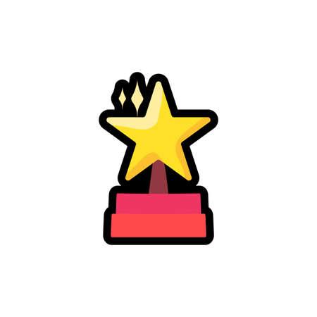 Star on podium flat outline illustration. Trophy, prize, reward. Award hand drawn sticker, patch