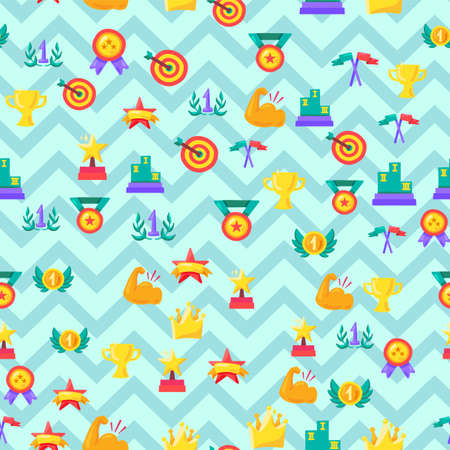 Winner seamless color vector pattern. Medals, rewards, trophies, awards on zigzag lines background Illustration