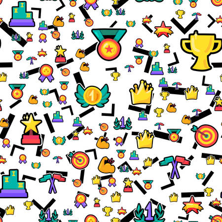 Champion prizes seamless color pattern. Winner trophies, medals, rewards, awards champion background